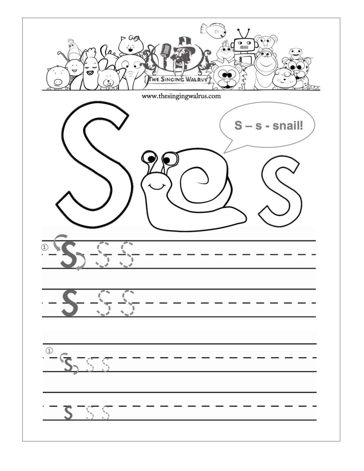 Letter S Tracing Worksheets Preschool