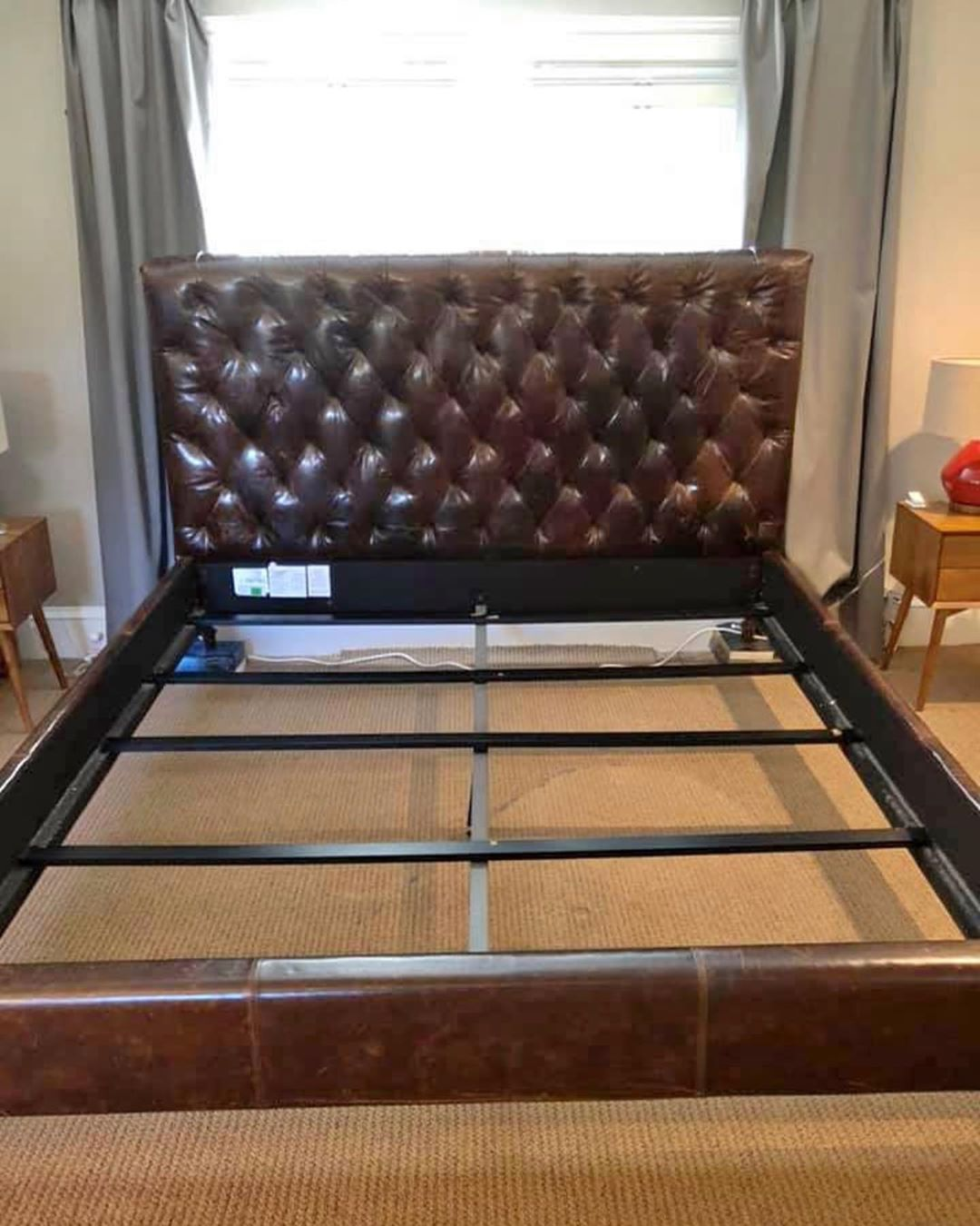 Restoration Hardware Chesterfield Leather Panel Bed Frame King