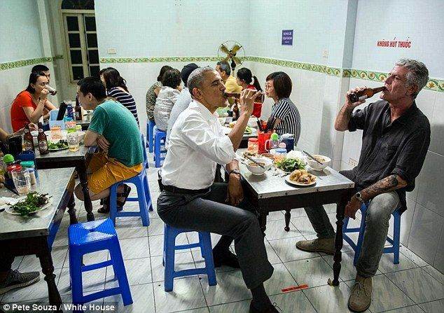 Knocking back brews with Barry:'Parts Unknown' host Anthony Bourdain interviewed Obama on...