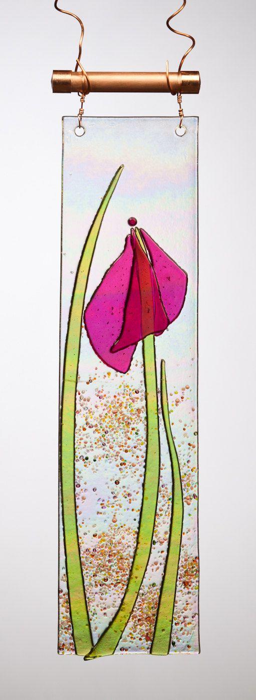 Handmade Graceful Pink Iris Fused Glass Sucatcher Ornament on Rainbow Iridescent Glass