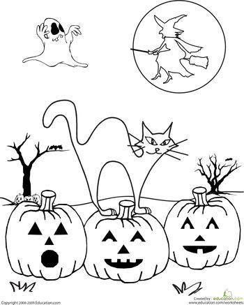 Color the Spooky Halloween Scene