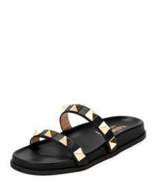 Womens Rockstud Leather Slide Sandals Valentino