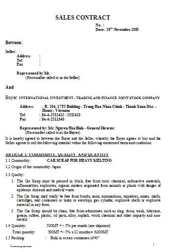 Sales Contract Template Agreement Of Sale Template For A Vehicle