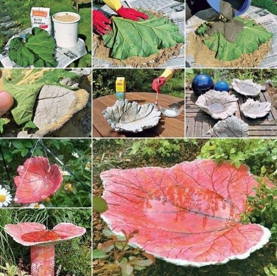 DIY Leaf Stone Bird Bath Tutorial Pictures, Photos, and Images for Facebook, Tumblr, Pinterest, and Twitter