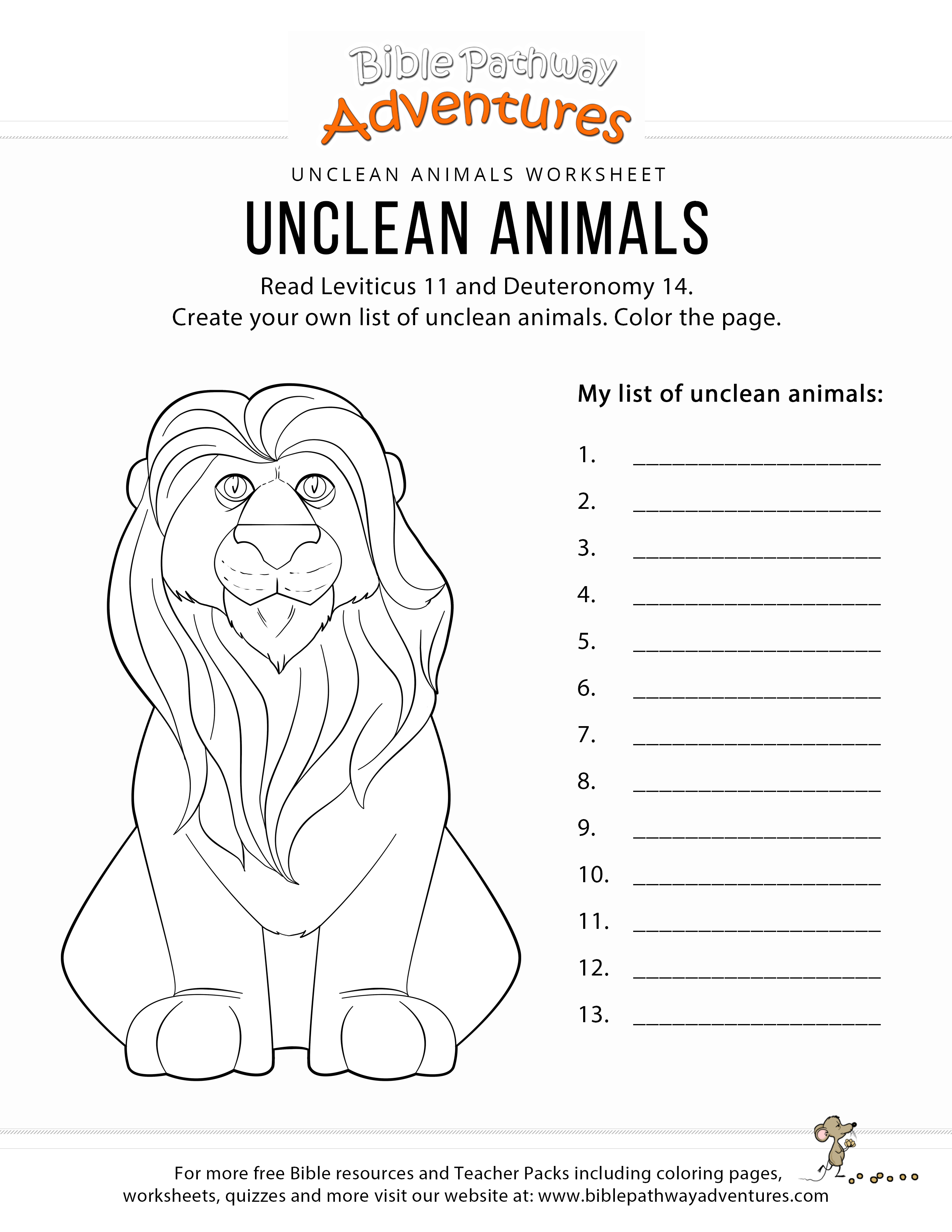 Unclean Animals Bible Coloring Page Kids