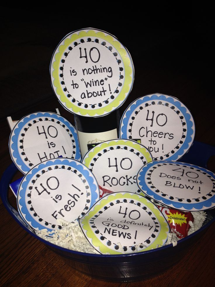 40th birthday party ideas 40th Birthday basket Celebrate