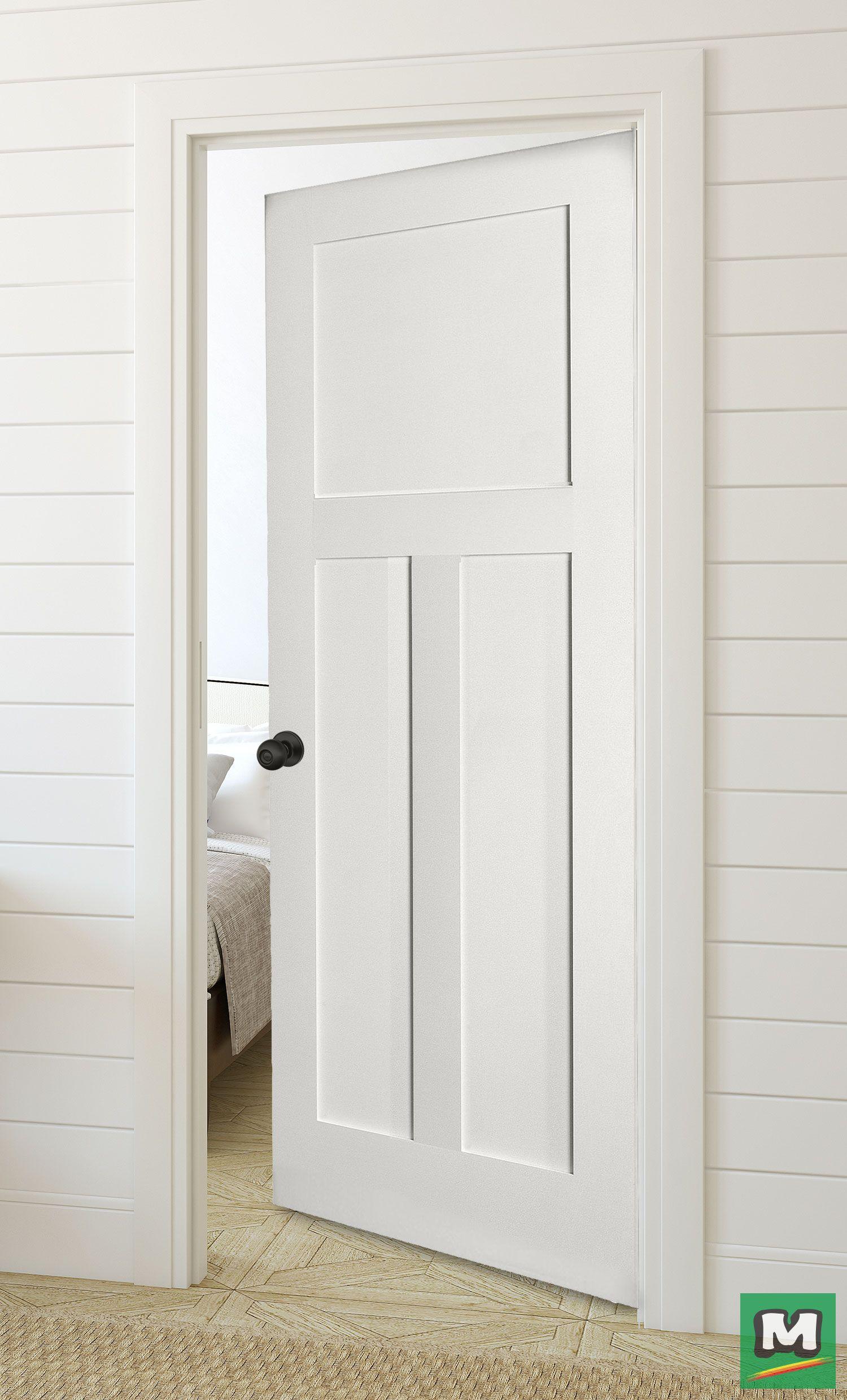 The Three Panel Door From Mastercraft Offers The Look Of A Handcrafted Door With A Design Craftsman Interior Doors Prehung Interior Doors Black Interior Doors