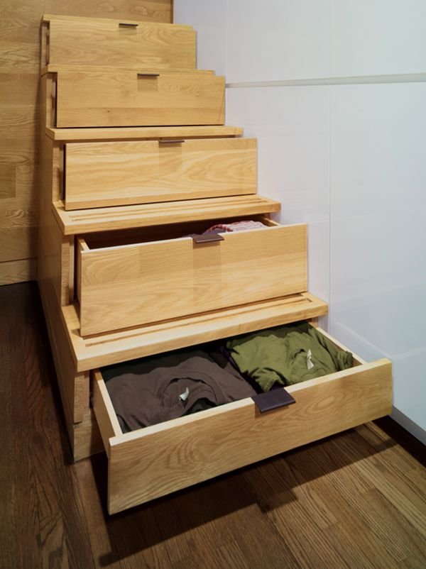 Clever Use Of Stairs As Storage