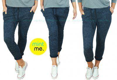 Wloskie Spodnie Dresowe Baggy Granat Melanz 44 46 6413544393 Oficjalne Archiwum Allegro Pants Wardrobe Fashion