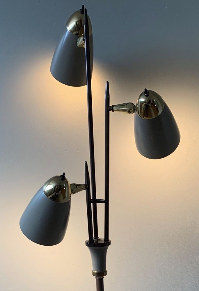 Vintage 50s 60s Adjustable Metal Cone Floor Lamp Mid Century Modern Atomic Era Cone Floor Lamp Mid Century Modern Floor Lamps Lamp