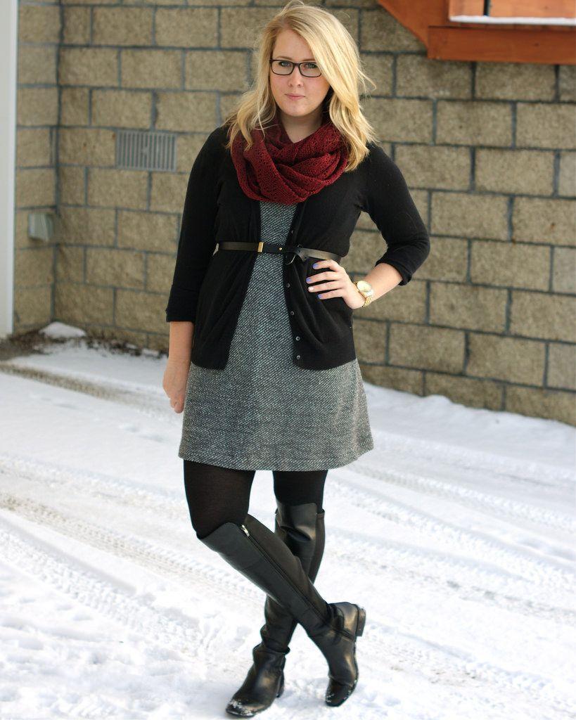 Fall fashion: Black and white tweed dress, black tights, black ...