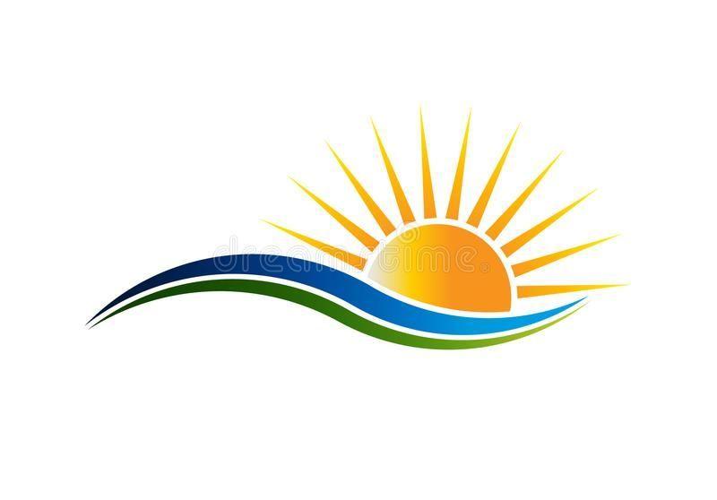 Sunshine Logo In Waves Vector Illustration Stock Vector Illustration Of Coastline Horizon 107145332 Sun Solarpanel En Sunshine Logo Sun Logo Sunset Art