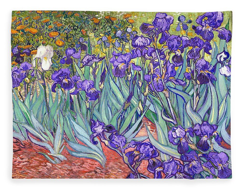 Purple irises fleece blanket for sale by vincent van gogh purple