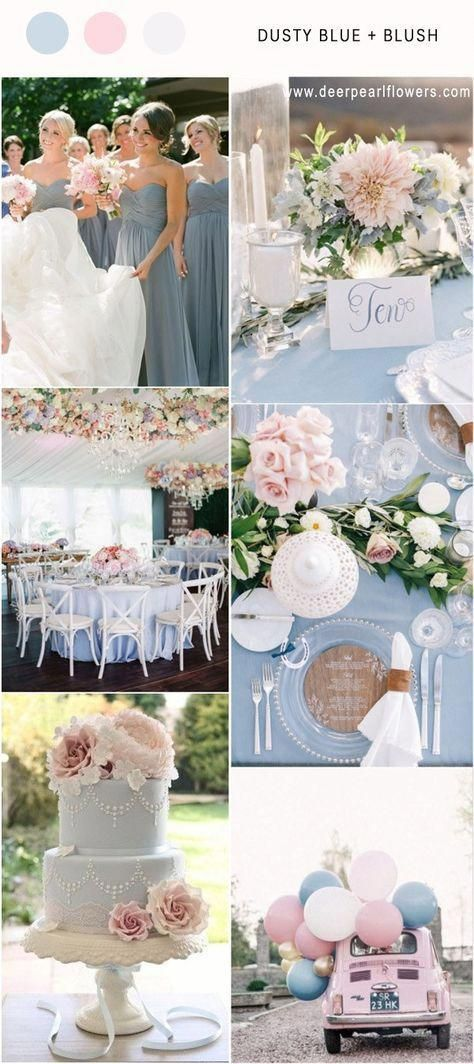Elegant Dusty Blue and blush wedding color ideas weddingthemes