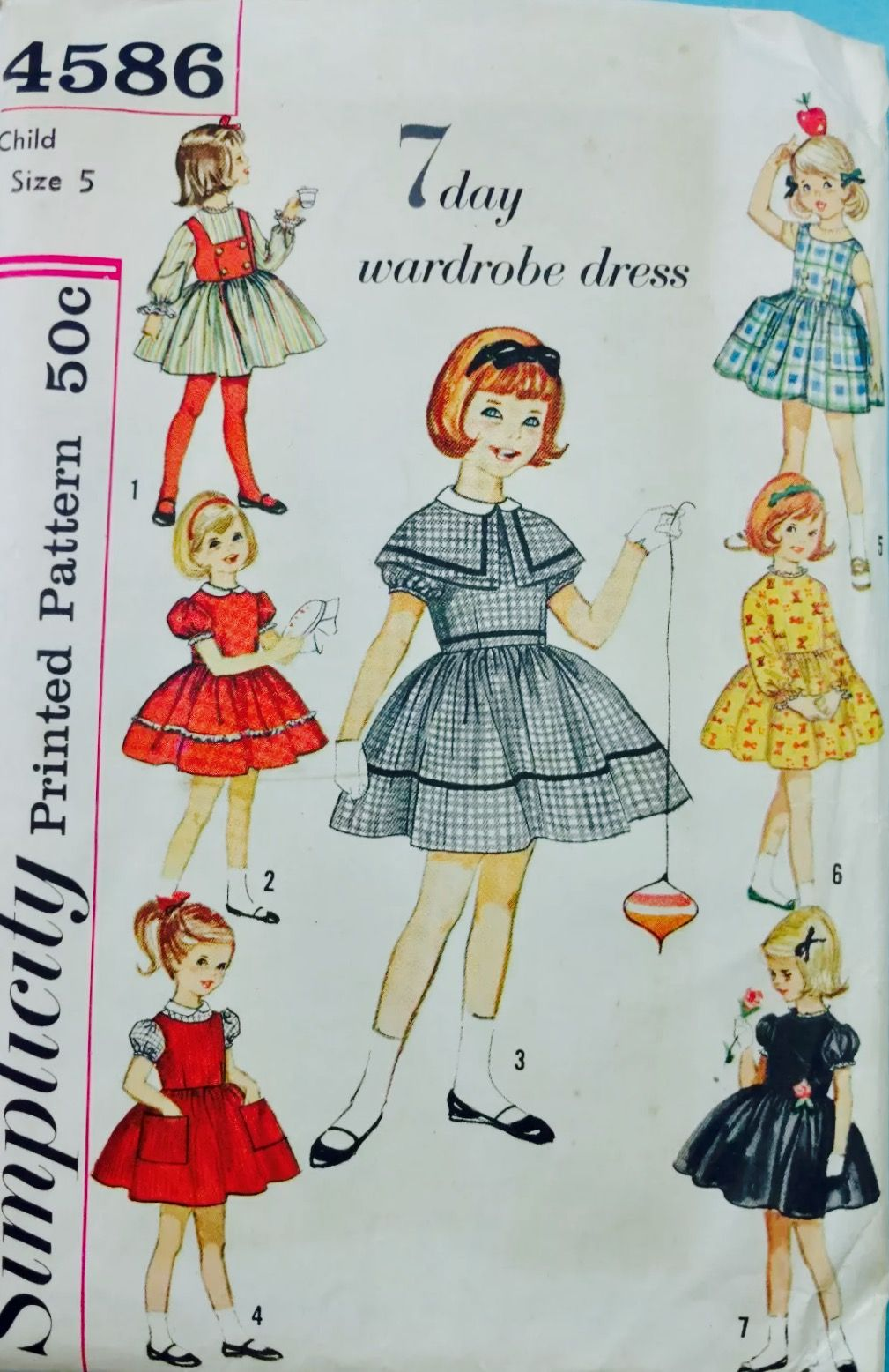 Vintage 1950/'s Sewing Pattern Alice in Wonderland Girls Dress Age 6 /& Doll Dress