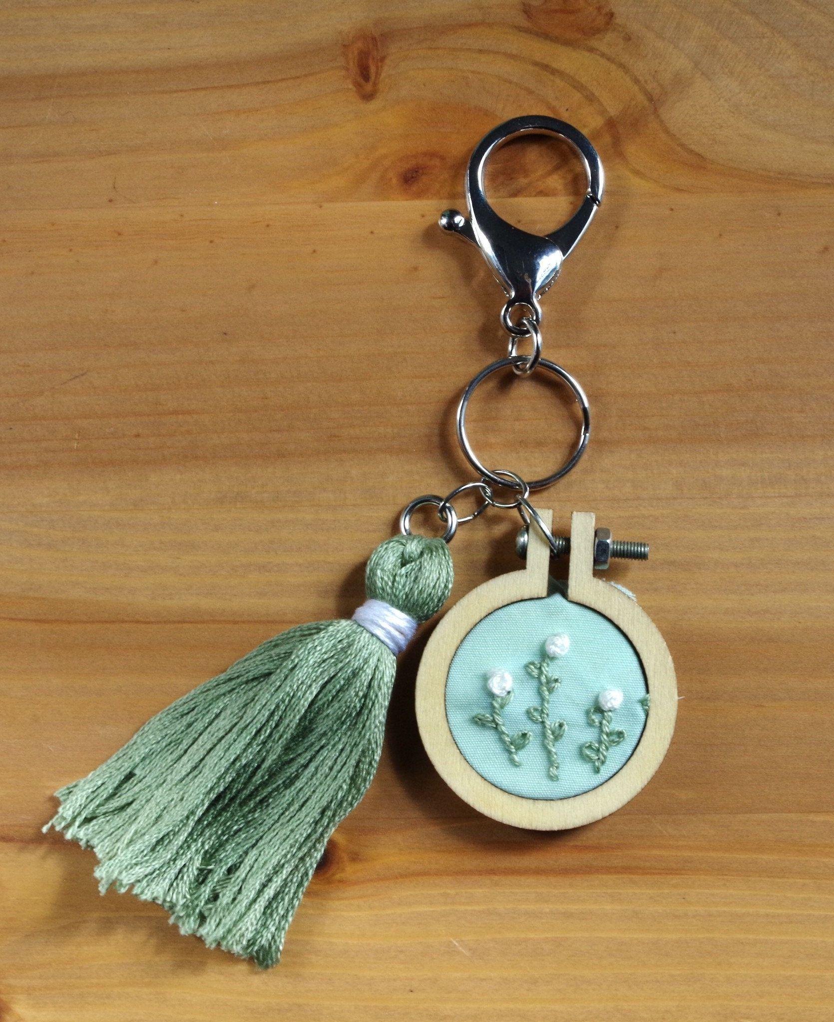Embroidered keychain - bag embellishment, zipper charm