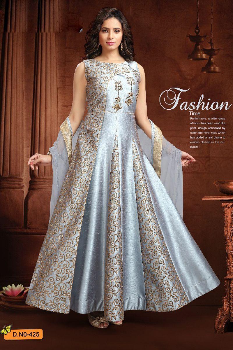 a90d3ba016b65 Call Or Whatsapp On +91 9377709531 Cream-Designer-Wedding-Wear-Embroidery- Sleeveless-Silk-Anarkali-Salwar-Suit-425-10215  wholesaledealer   bulksupplier ...