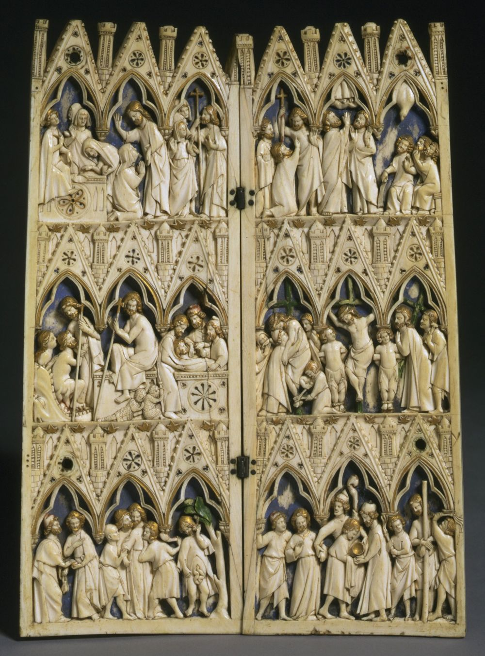 cath drale de soissons diptych unknown maker c 1280 1300 painted and gilt ivory france. Black Bedroom Furniture Sets. Home Design Ideas