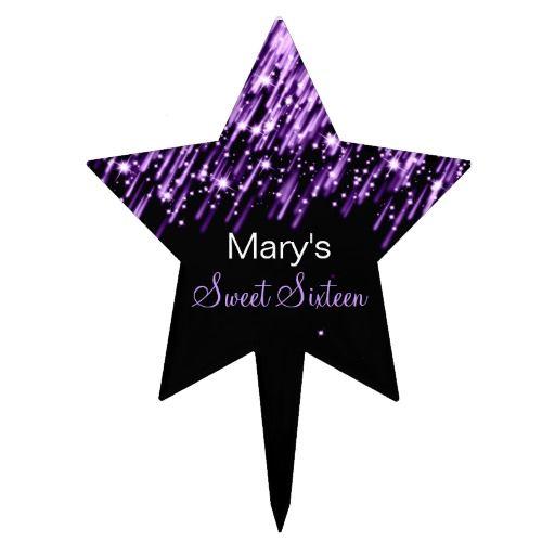 Sweet Sixteen Falling Stars Purple Cake Toppers