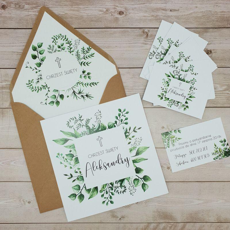 Zaproszenia Natura Na Chrzest Place Card Holders Place Cards Cards
