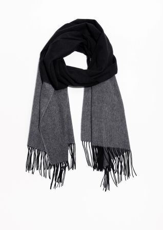 & Other Stories image 2 of Two Tone Wool Blanket Scarf in Black/ Grey