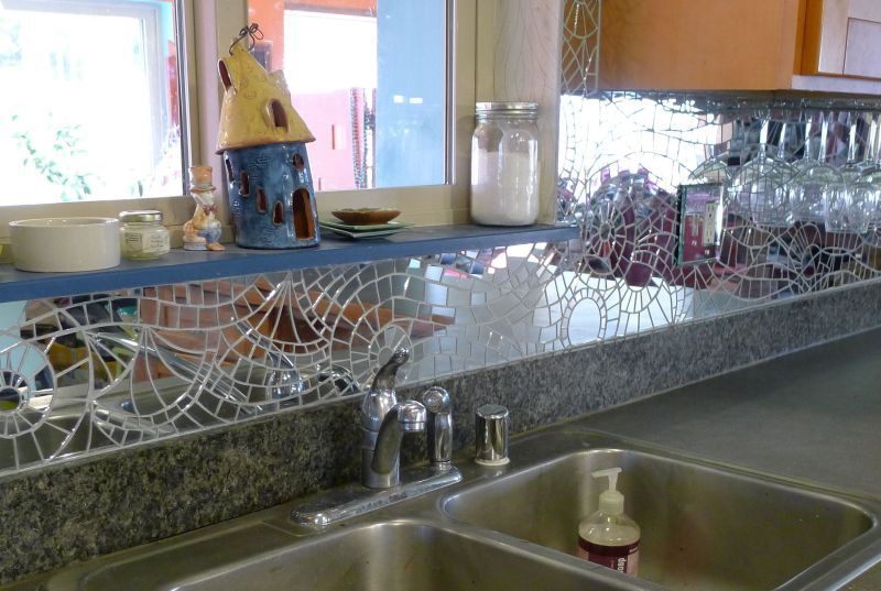 Mirror Backsplash For Kitchen Mirror Mosaic Backsplash Over Sink