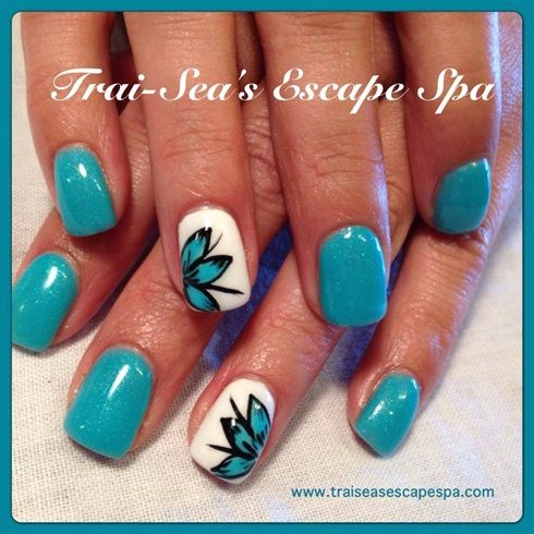 Aqua with hand painted flower by TraiSeasEscape - Nail Art Gallery ...
