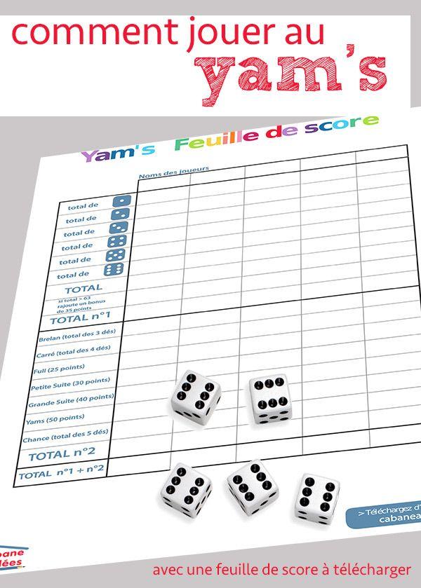 Comment jouer au yam 39 s les r gles et la fiche imprimer - Peut on se doucher pendant les regles ...