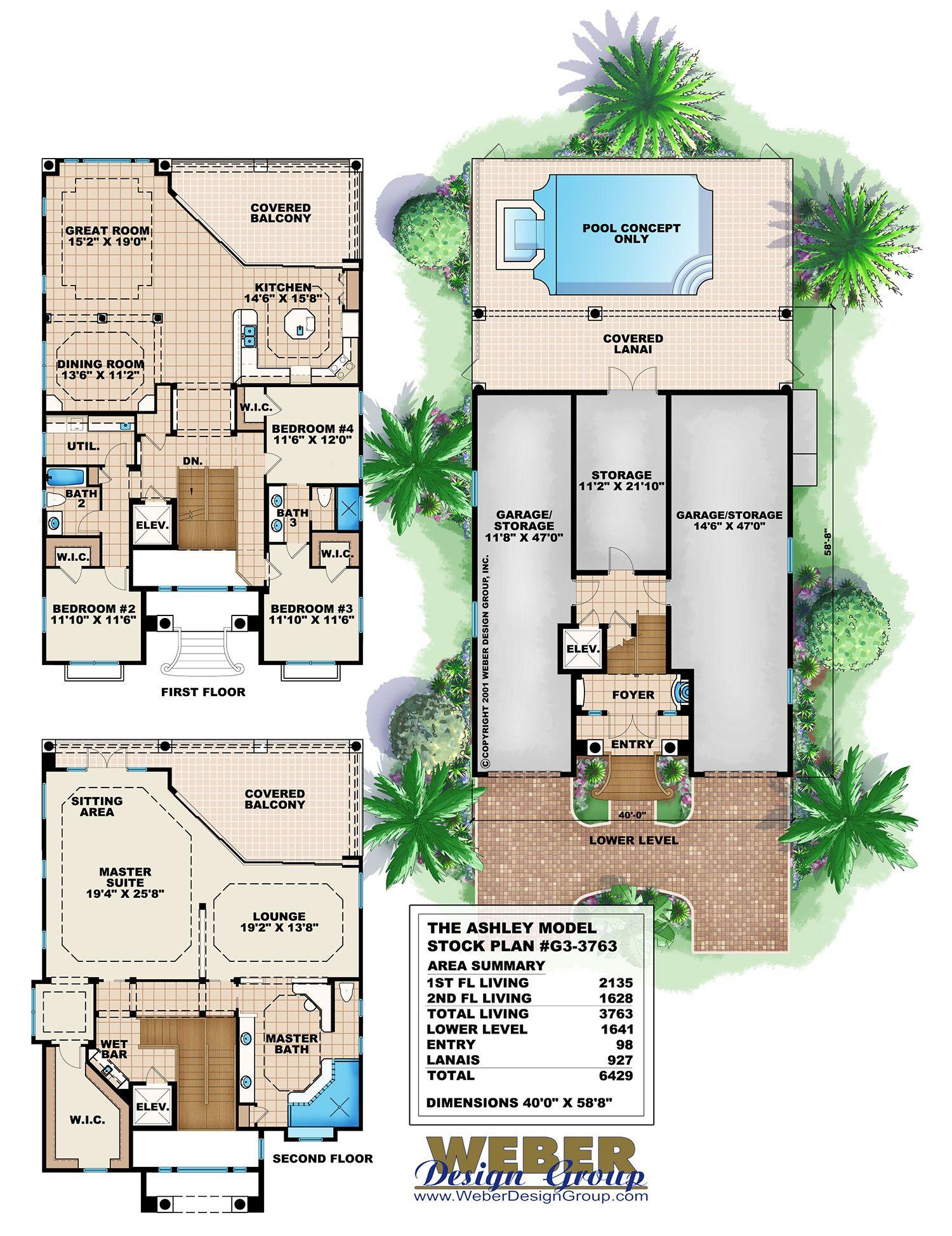 Mediterranean House Plan Coastal Narrow Lot Beach Home Floor Plan Coastal House Plans House Plans Modern House Plans