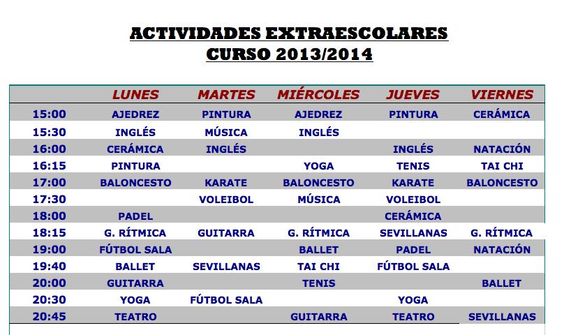 Actividades Extraescolares Horarios De La Tarde Learning Spanish Teaching Spanish School Schedule