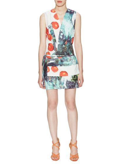 Lola Silk Deep V-Neck Shift Dress with Pouch by Misha Nonoo at Gilt