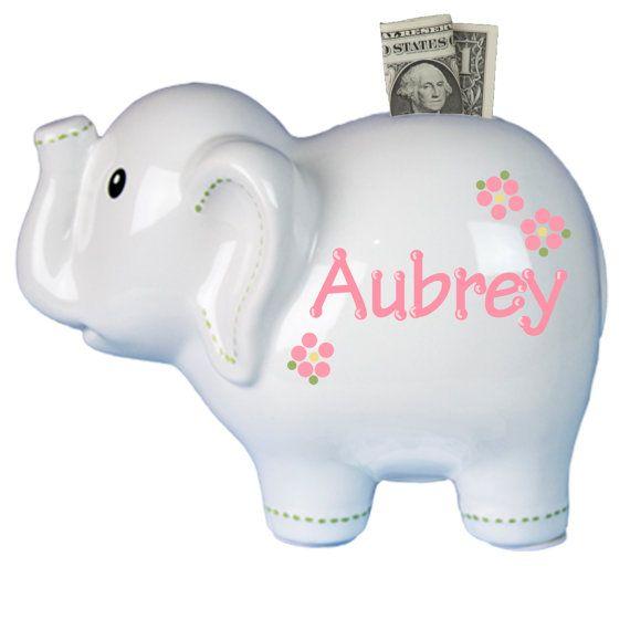Personalized White Elephant Ceramic Piggy Bank S Boys