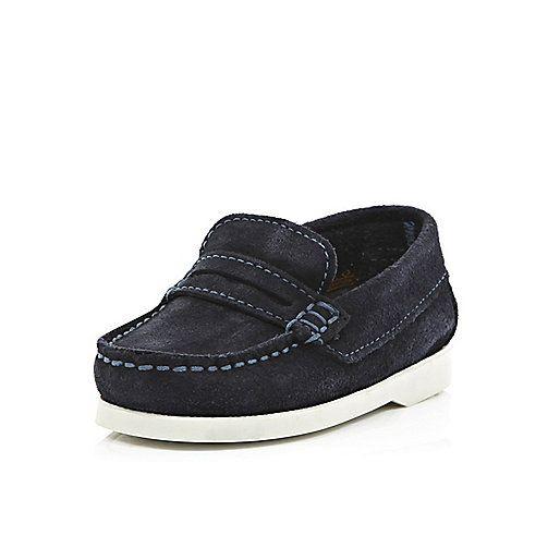 Mini boys navy smart loafers   Baby boy