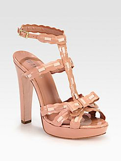 RED Valentino - Patent & Leather T-Strap Platform Sandals