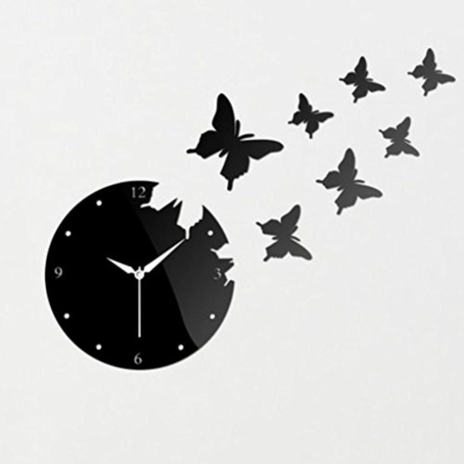 L&QQ Creative acrylic mirror wall clock the living room stereo Butterfly wall clock , a - Brought to you by Avarsha.com