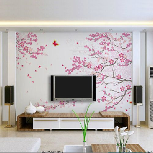 Large Cherry Blossom Tree Decal Pink Flower Floral Wall Sticker Vinyl Home Decor Wall Stickers Living Room Wall Stickers Home Decor Tree Wall Decal