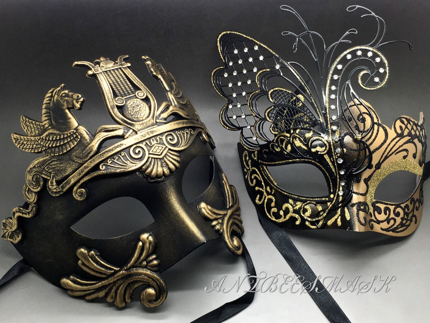 ec15ec666ae8 Couple Gold & Black Laser Cut Metal Butterfly and Rome Warrior Venetian  Masquerade Party Mask