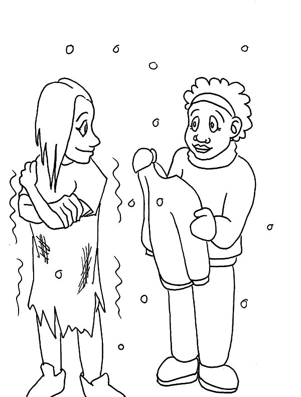 Helping Others Give Warm Clothes To Homeless People Coloring Pages Coloring Sky People Coloring Pages Kids Christmas Coloring Pages Cute Coloring Pages