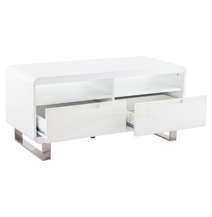 Meuble tv VIDEO - Petit meuble design en bois laqué idéal pour de petits intérieurs ! http://www.alterego-design.com/meuble-tv-video-en-bois-laque-blanc-brillant.html