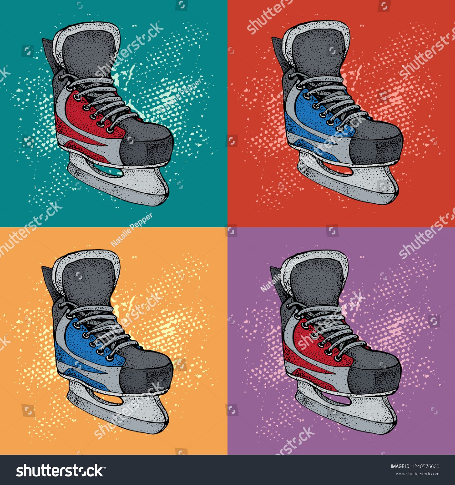 Winter Holidays Pattern With Ice Skates Cartoon Sketch Red And Blue Ice Hockey Skates Vector Illustration W Holiday Patterns Cartoon Sketches Winter Holidays