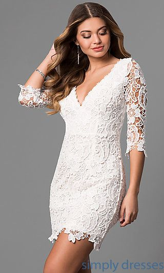 Short V Neck Lace Graduation Party Dress With Sleeves For Eliza