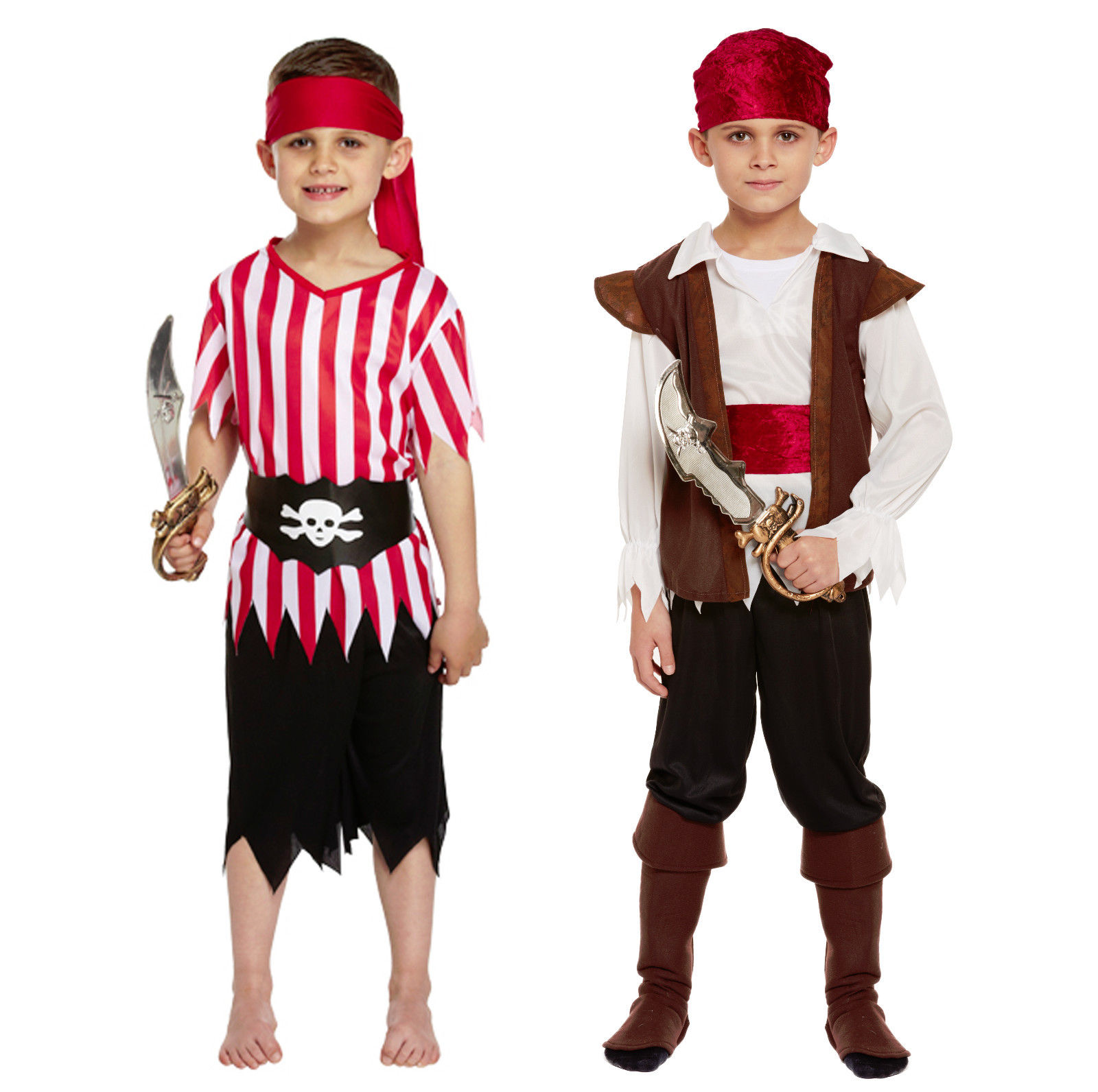 Childs Pirate Costume Boys Caribbean Fancy Dress Captain Hook Book Week Outfit