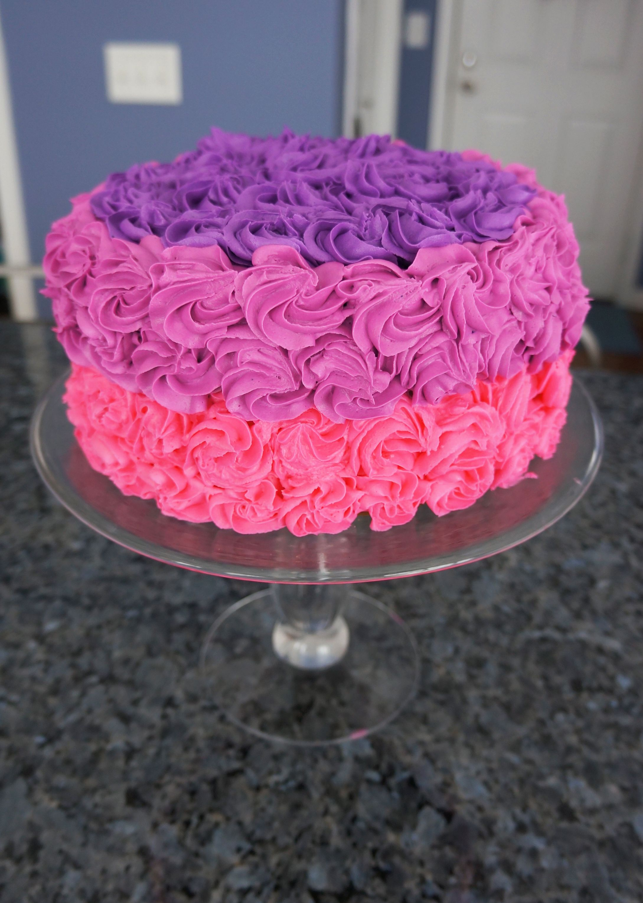 Pink And Purple Ombre Flower Birthday Cake