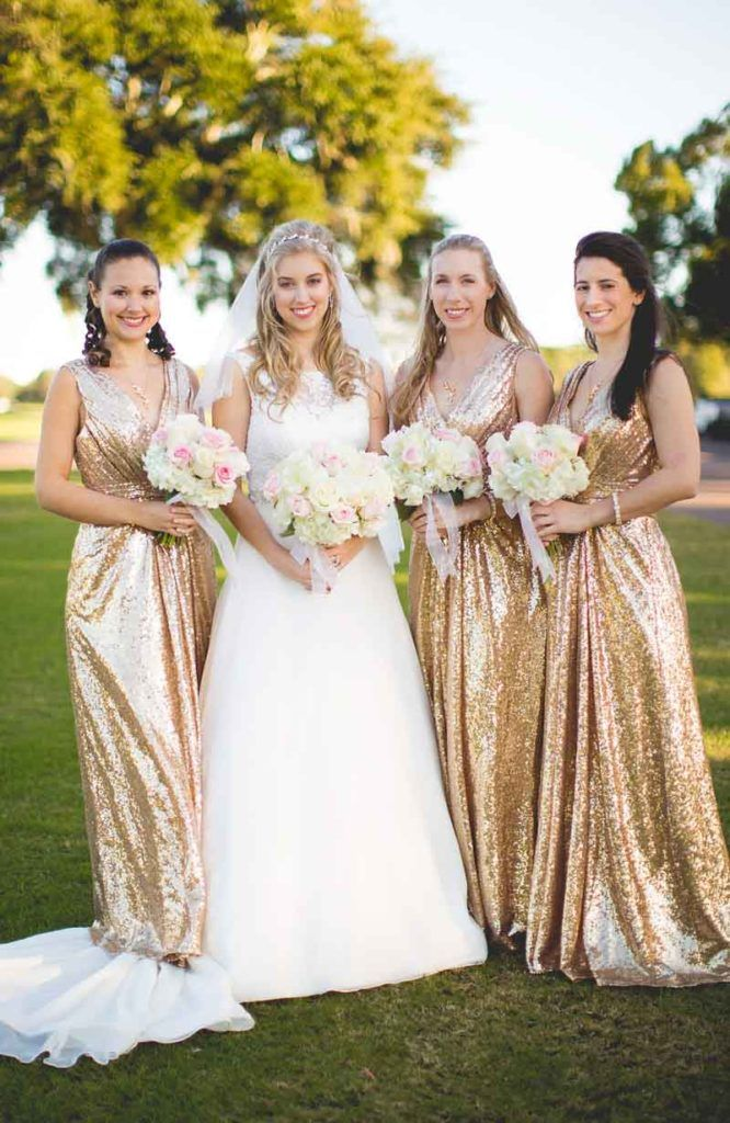 Elegant White Gold And Pink Wedding At Metro West Golf Club Orlando Fl Shimmery Bridesmaid Dresses