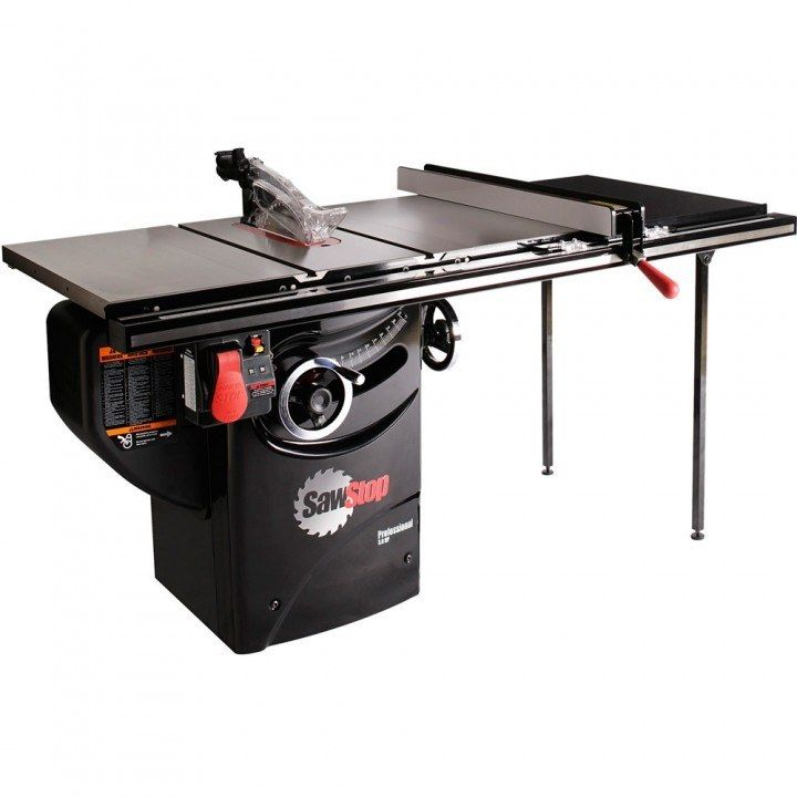 Sawstop 3hp Professional Table Saw W 36 Fence Rails And Extension Table Table Saw Cabinet Table Saw Best Table Saw