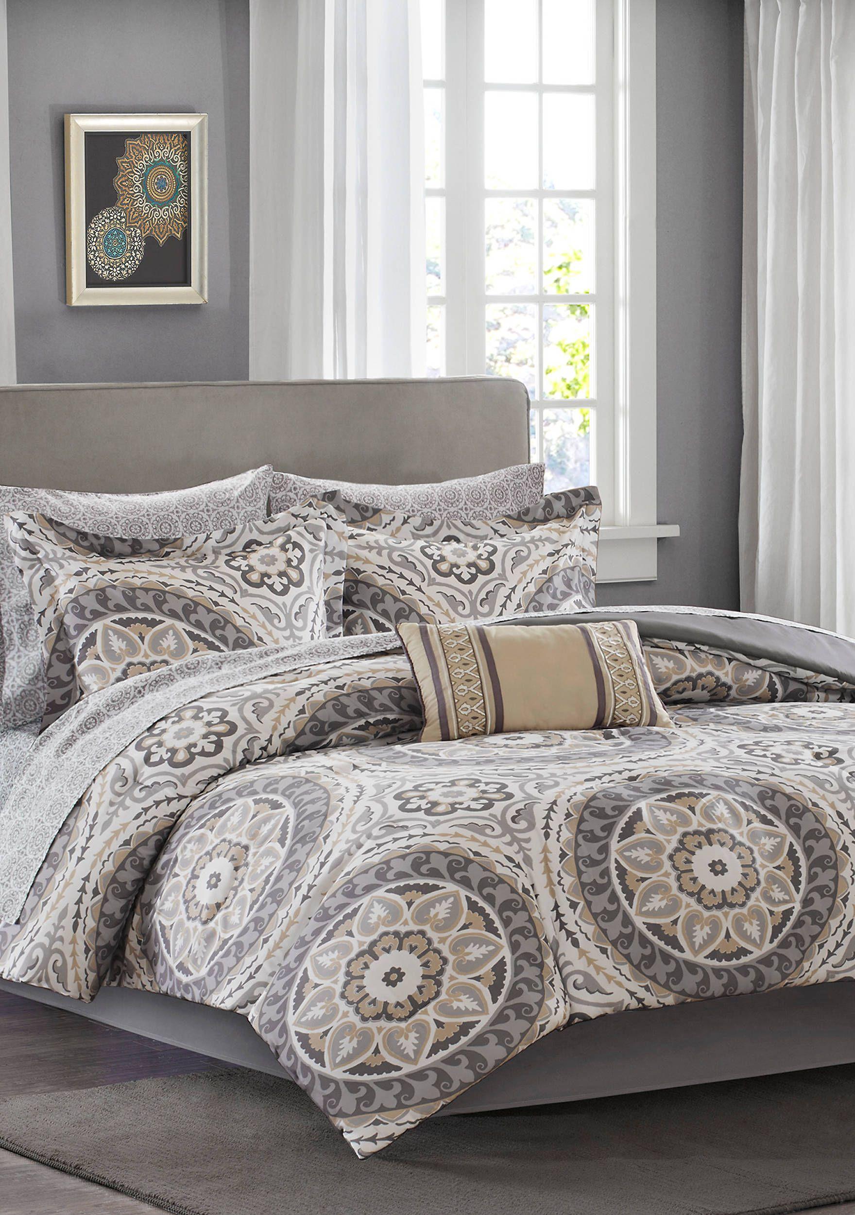 Madison Park Essentials Serenity Complete Comforter Set Taupe Comforter Sets Grey Comforter Sets Bedding Sets