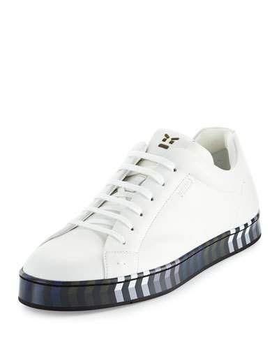 23e58cac44 N452N Fendi Leather Low-Top Sneaker w/Chevron Outsole | Sneakers in ...