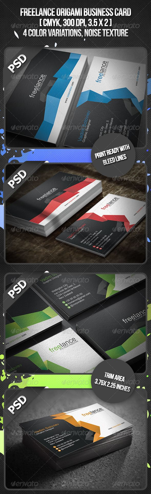 Freelance origami business card business cards origami and business freelance origami business card jeuxipadfo Gallery
