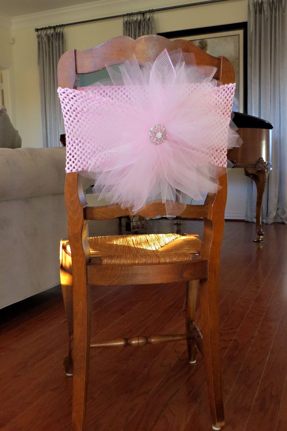 Tulle Chair Cover With Crochet Elastic Band For Bridal