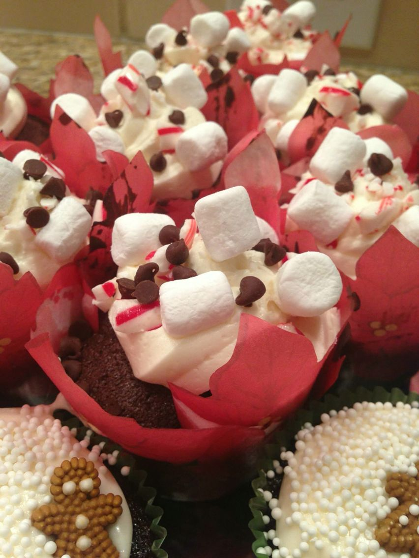 Christmas mocha cupcakes with peppermint frosting, mini dark chocolate chips, marshmallows, and crumbled peppermint